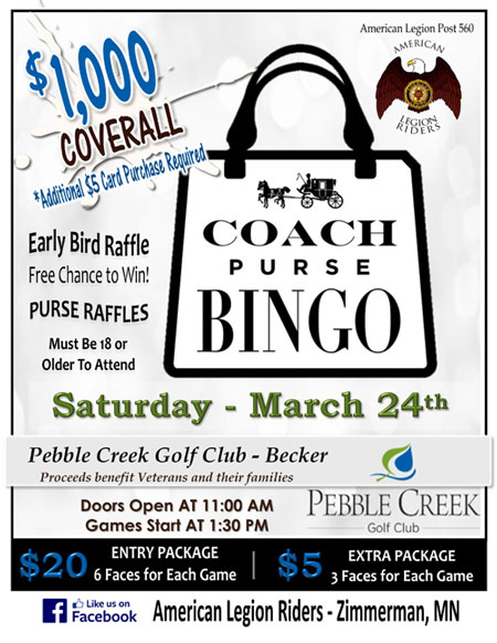Designer Purse Bingo – Pebble Creek Golf Club